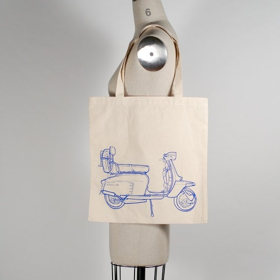 scooter - tote, royal blue on natural