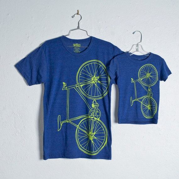 like father, like son FIXIE TSHIRT SET 2 tri-blend bike tees, lime green bicycle on indigo blue