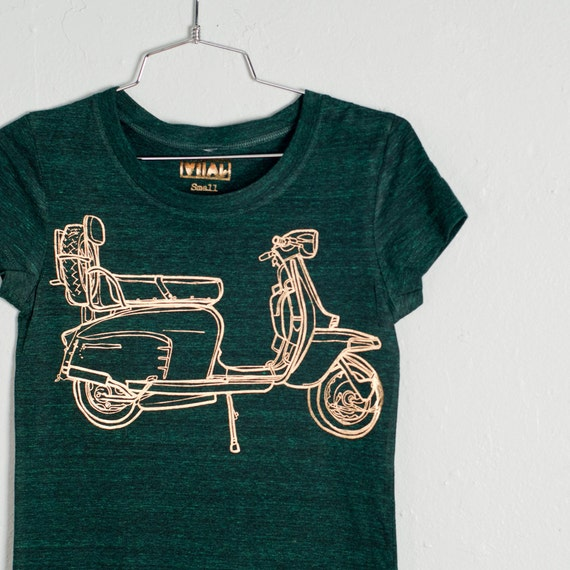 SALE - XL - Scooter - women's tri blend tshirt, gold foil on emerald
