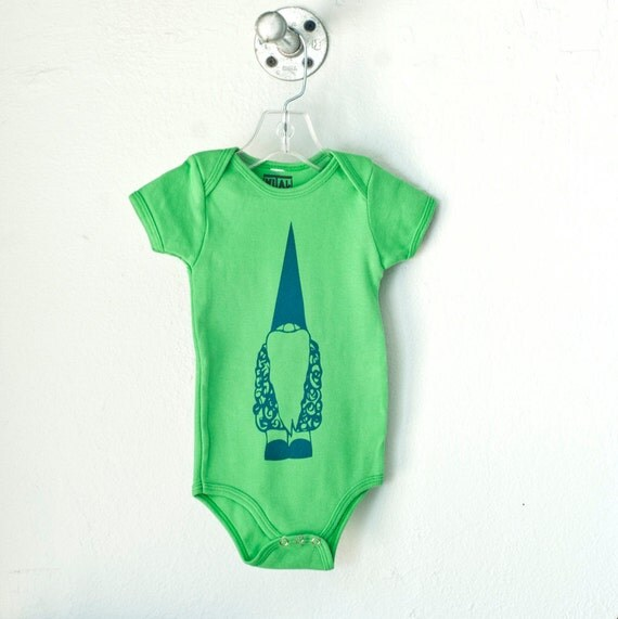 Tomte, Infant gnome one piece, grass green, size 12-18 mo