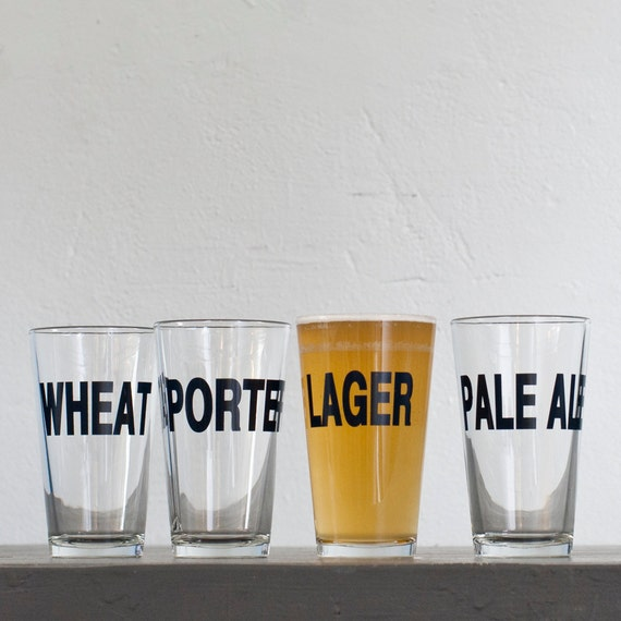 SALE Classic beers - Porter hand printed pint glasses - dark charcoal - Porter style
