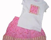 Sale - Dandelion and Polka Dots Skirt Set 2T OOAK  Ready to ship