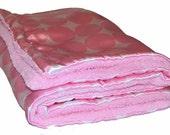 SALE - Pink Sherbet Polka Dot Minky Blanket Last One Ready to Ship