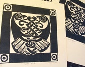 Celtic Birds Original Hand Printed Linocut knot ireland crow raven tribal black and white limited edition art crest nature symbolism castle