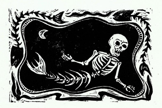 Creepy MerMan Skeleton original halloween art hand printed linocut