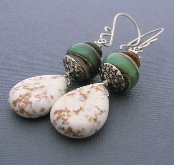 Oz Lampwork and Howlite Earrings