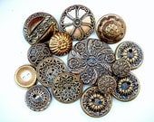 Neat Lot of Various Vintage Flower Designed Gold Tone Metal Buttons