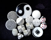 Neat and Interesting Lot of Various Vintage White and Black Glass Buttons