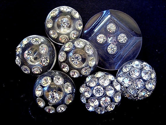 Lovely Lot of Various Vintage Plastic Paste Rhinestone Buttons