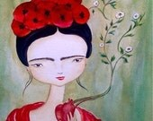 Frida Kahlo art print. Frida with poppies and anatomical heart, Featured in Somerset Studio Magazine