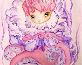 Octopus girl, Blush original painting