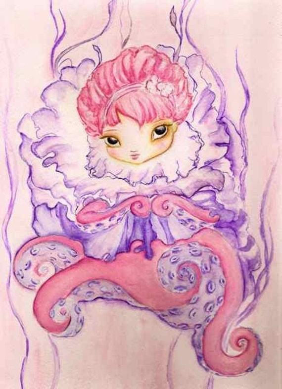 Octopus girl, Blush original painting