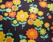 Vintage Fabric - Retro Flowers on Black