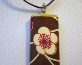 Brown Floral Wooden Pendant