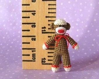 PDF PATTERN - Amigurumi Crochet Tutorial Pattern Miniature SockMonkey