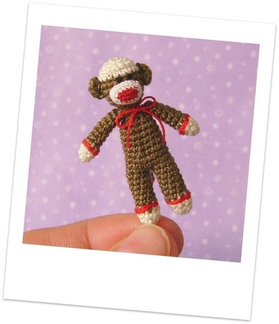 Muffa's - PDF Pattern\/Tutorial how to make a crochet Miniature Sock Monkey