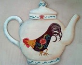 SALE: Teapot Shaped Hand Painted Kitchen Sign