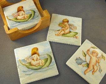 SALE: China Painted Porcelain Garden Fairy Coaster Set