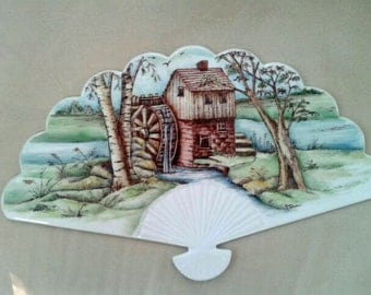 SALE: Hand painted Porcelain Country Scene Fan & Plate Hanger