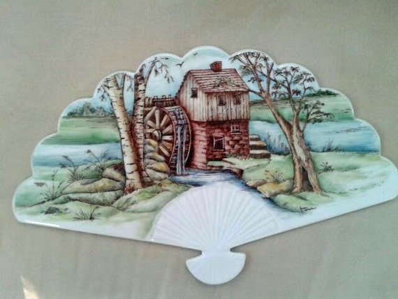 Hand painted Porcelain Country Scene Fan