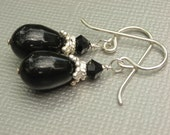 black pearl and crystal earrings - sterling silver, black friday etsy
