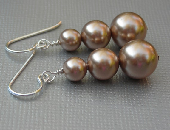 pearl earrings, bronze swarovski pearl earrings