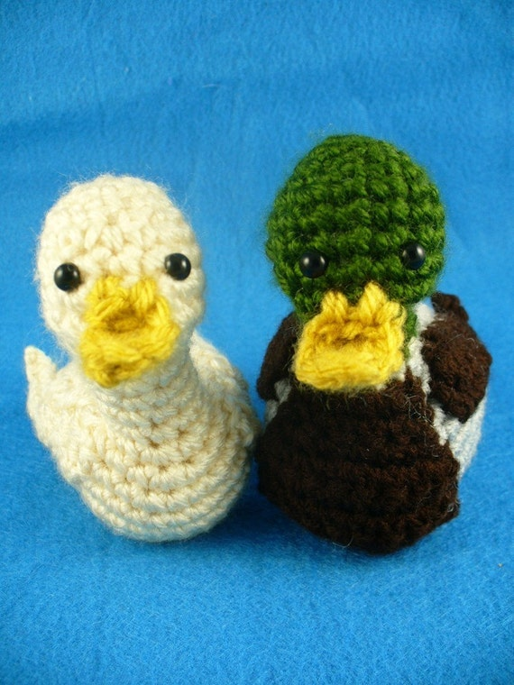 Crochet Amigurumi Duck Patterns : Crochet Mallard and White duck Amigurumi PATTERN