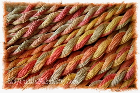 AUTUMN MEDLEY   size 100  hand dyed TATTING crochet embroidery CQ thread     6 cord