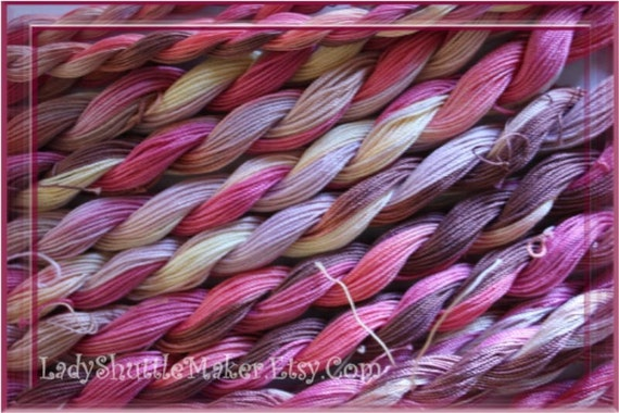 CORAL ROSE     Size 20    hand dyed TATTING crochet embroidery CQ cotton thread   6 cord