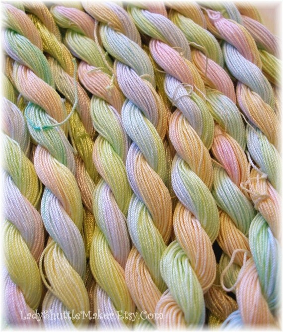 PASTEL RAINBOW     Size 20    hand dyed TATTING crochet embroidery CQ cotton thread   6 cord