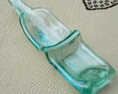 Seafoam Wine Bottle Double Bowl with Beachy blues