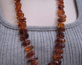 Long Vintage Cognac Baltic Amber Bead Necklace