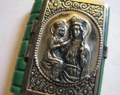 Vintage Green Czech Glass Silver Metal Small Rosary Case Saint Anne