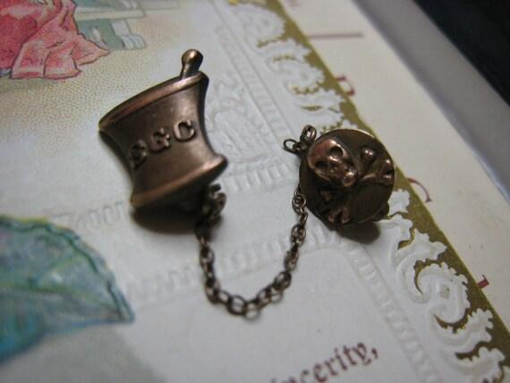 Vintage Skull and Cross Bones Pharmacy Alchemy Organization Pin SGC Mortar and Pestle