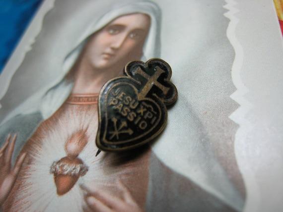 On Sale Vintage Old Jesu XPI Passio Passionist Black Scapular Religious Pin