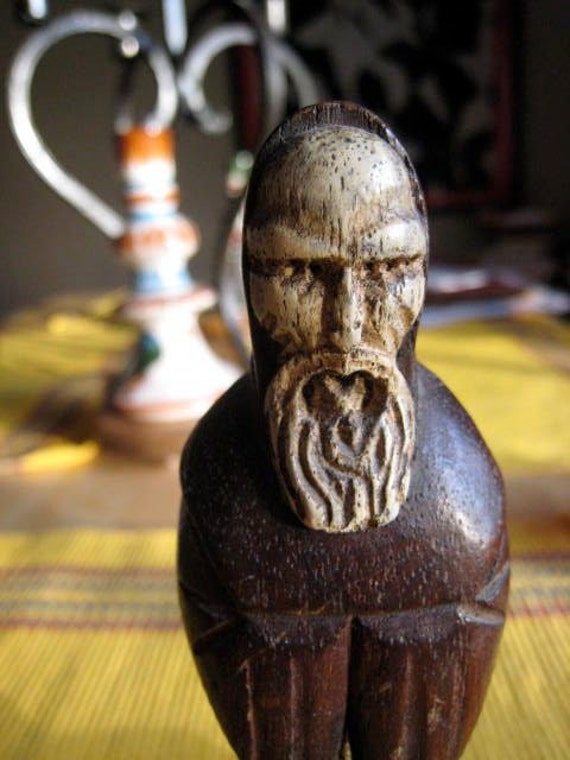 On Sale Mysterious Vintage Monk Hand Carved Statue Figure Solid Wood