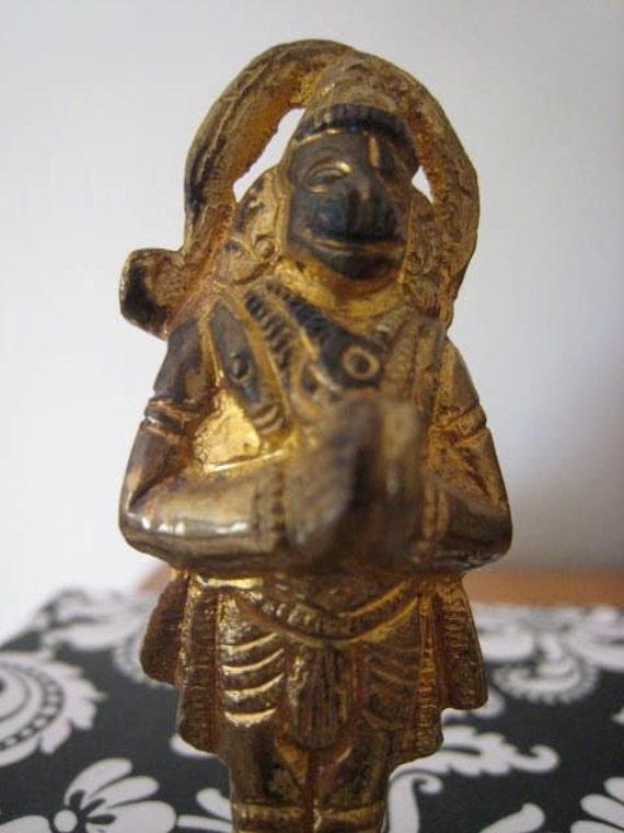 Vintage Heavy Gilt Metal Hindu Hanuman Monkey God Statue Figurine