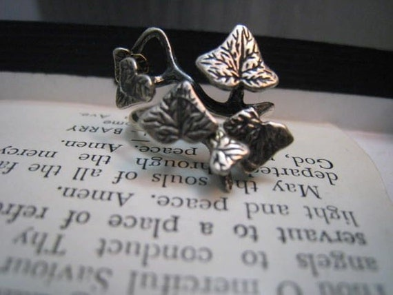 Vintage 1970s Sterling Silver Ivy Ring Fairy Woodland