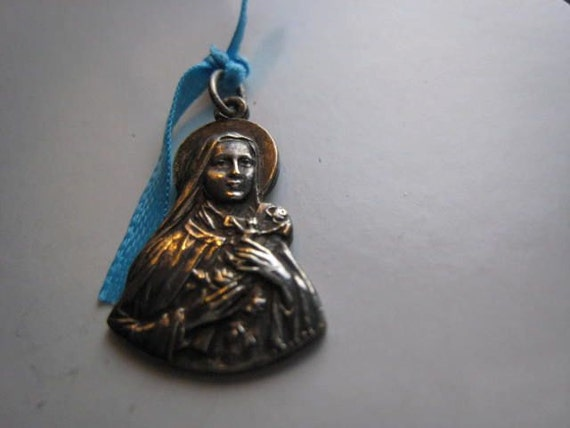 Antique Sterling Silver Saint Therese Religious Medal Pendant France