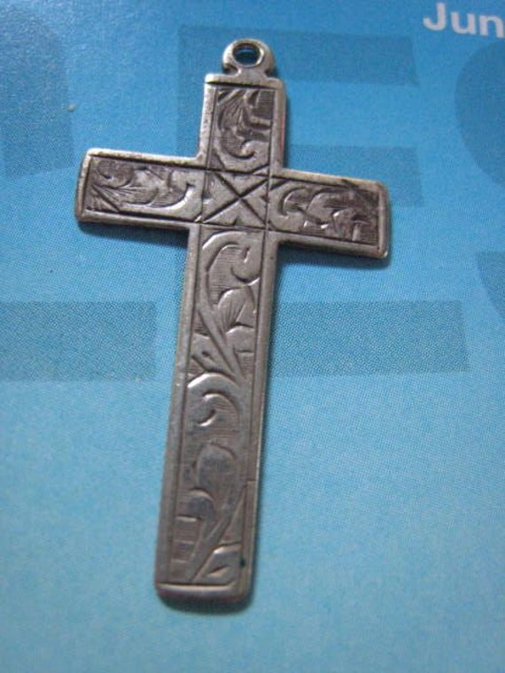 On Sale Antique Vintage Victorian Sterling Silver Engraved Cross Pendant