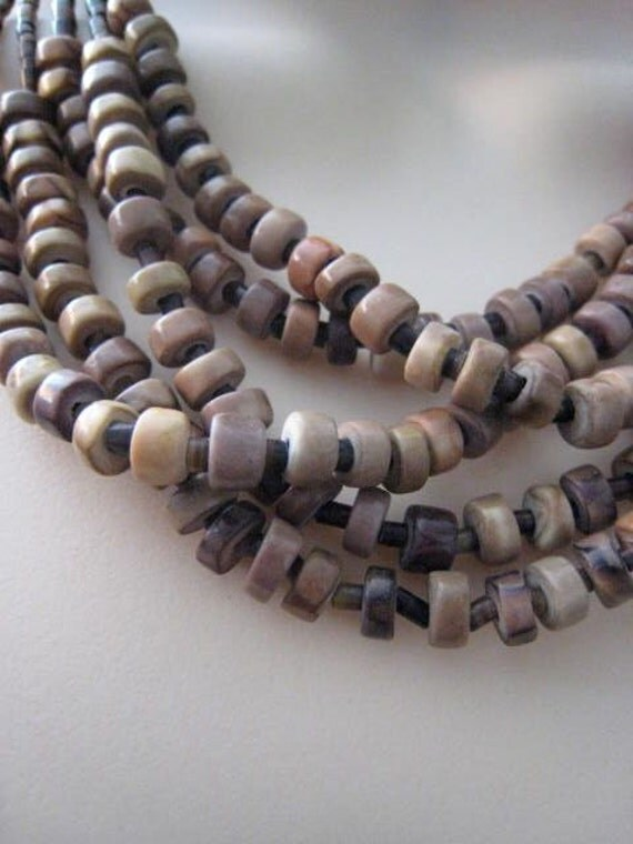 Vintage Native American Sterling Silver Brown Horn Shell Heishi Bead Necklace