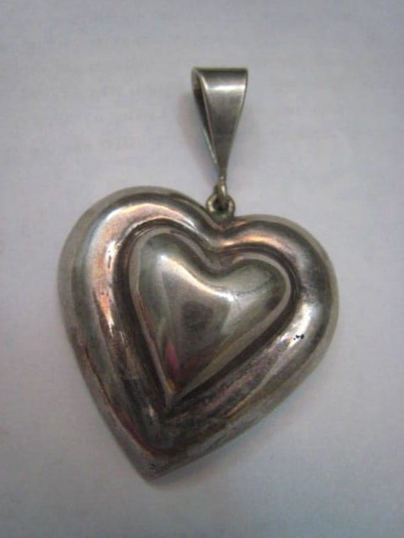 I Love You This Much Vintage Huge Sterling Silver Oversized Heart Pendant Mexico