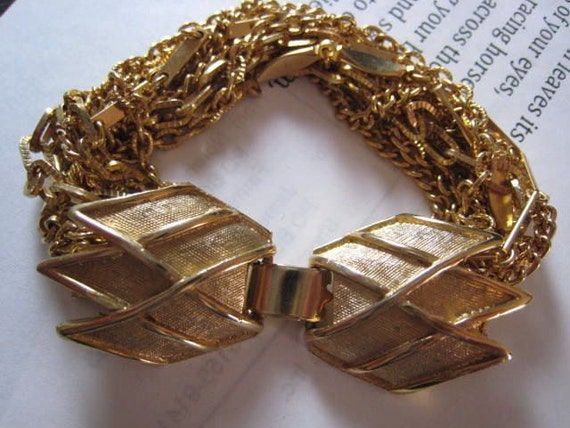 Vintage Mad Men 1950s Gold Layered Thick Chain Bracelet