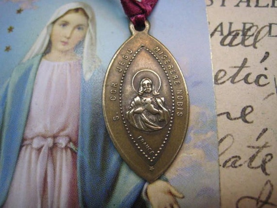 Antique French 1800s Religious Medal Sacred Heart of Jesus and Our Lady of Mt Carmel