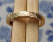 Unique Wedding Band - Hammered Pipe Carved Band - 10k Straw Gold Ring