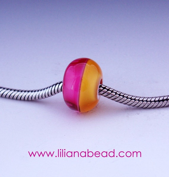 Amber and Pink Horizon Bead for Your Pandora, Biagi or Troll Collection