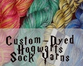 Reserved For dbyrne44 Hogwarts Sock Yarn  Any House  Any Stripe and now any Base