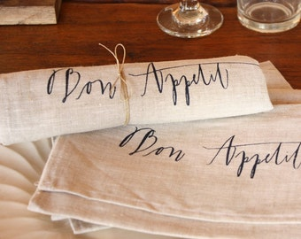 bon appétit napkins, set of 2