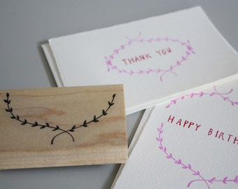 rubber stamp, open garland