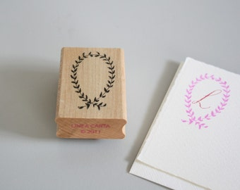 rubber stamp, closed garland